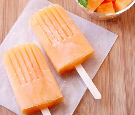DIY Popsicles | Cantaloupe Mint Pops: Refreshing but low cal, the melon here is brightened up by lime and our favorite summer herb. Bonus: Melon's got fiber, which will help fill you up.