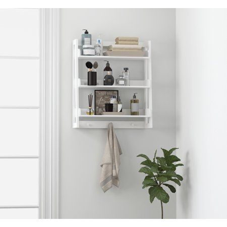 Spirich 3 Tier Bathroom Shelf Wall Mounted With Towel Hooks Bathroom Organizer Shelf Over The Toilet White Bathroom Organisation