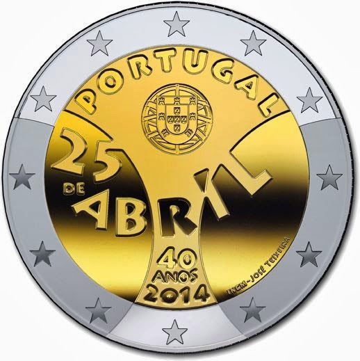 2 Euro Commemorative Coins Portugal 2014, Anniversary of the Carnation Revolution