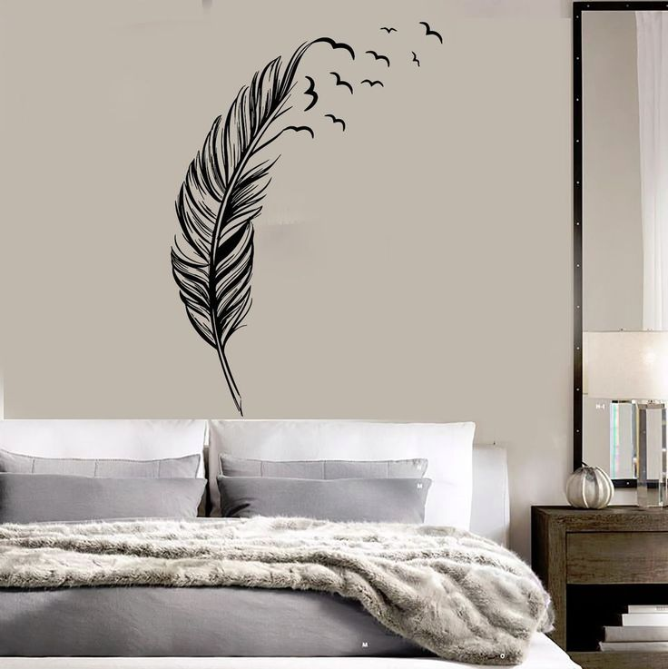 Vinyl wall decal feather birds bedroom home decoration stickers mural ig3639 bird bedroom