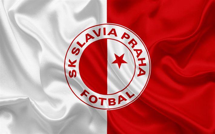 Descargar fondos de pantalla Slavia Praha, club de Fútbol, Praga, República checa, emblema, Slavia logotipo rojo de la bandera de seda blanca, checa el campeonato de fútbol