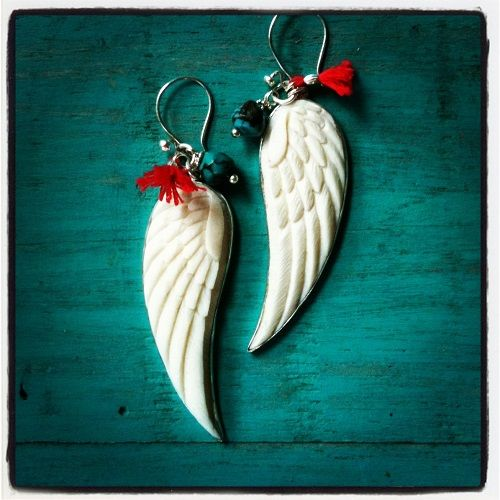 Gretel's Angel Wing, handcarved bone & 9.25 silver with red tassel & turquoise bead, available delice@deliceandcreed.com