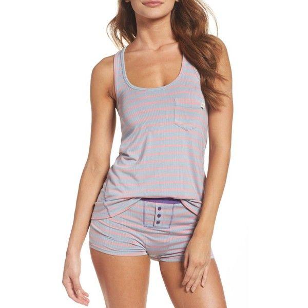 Women's Honeydew Intimates Rib Pajamas ($38) ❤ liked on Polyvore featuring intimates, sleepwear, pajamas, cameo stripe, striped jersey, striped pajamas, honeydew intimates, racerback jersey and striped pyjamas