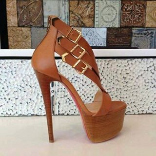 Brown and strappy heel