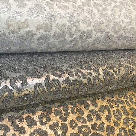 A leopard print given a glamorous beaded and metallic treatment