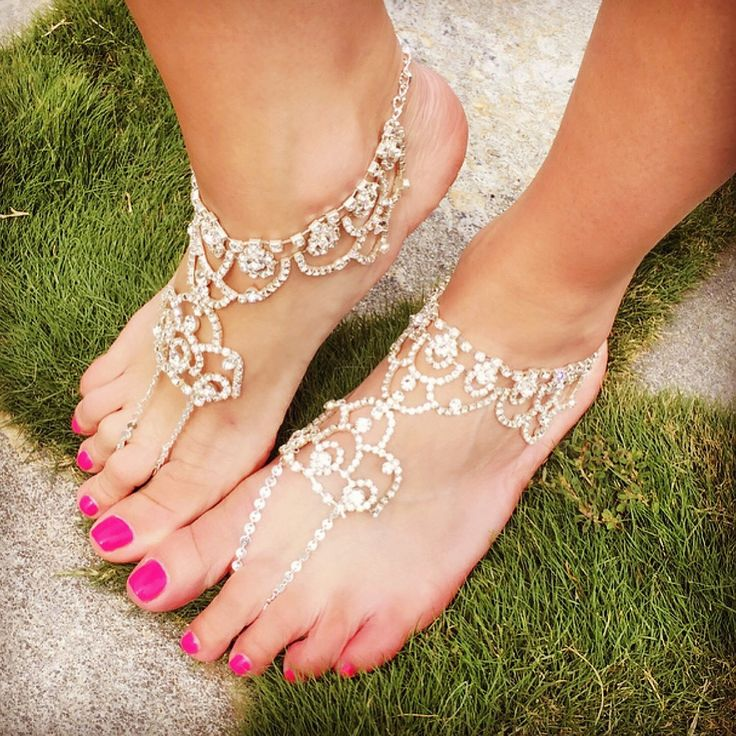 Delicate Enchanted Crystal Feet Jewelry Perfect for a Wedding or Party at a Day…