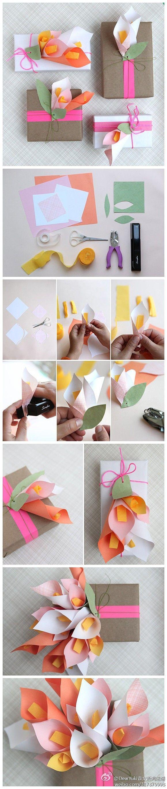 Decoración de cajas con tulipanes de papel -  tulip box decoration