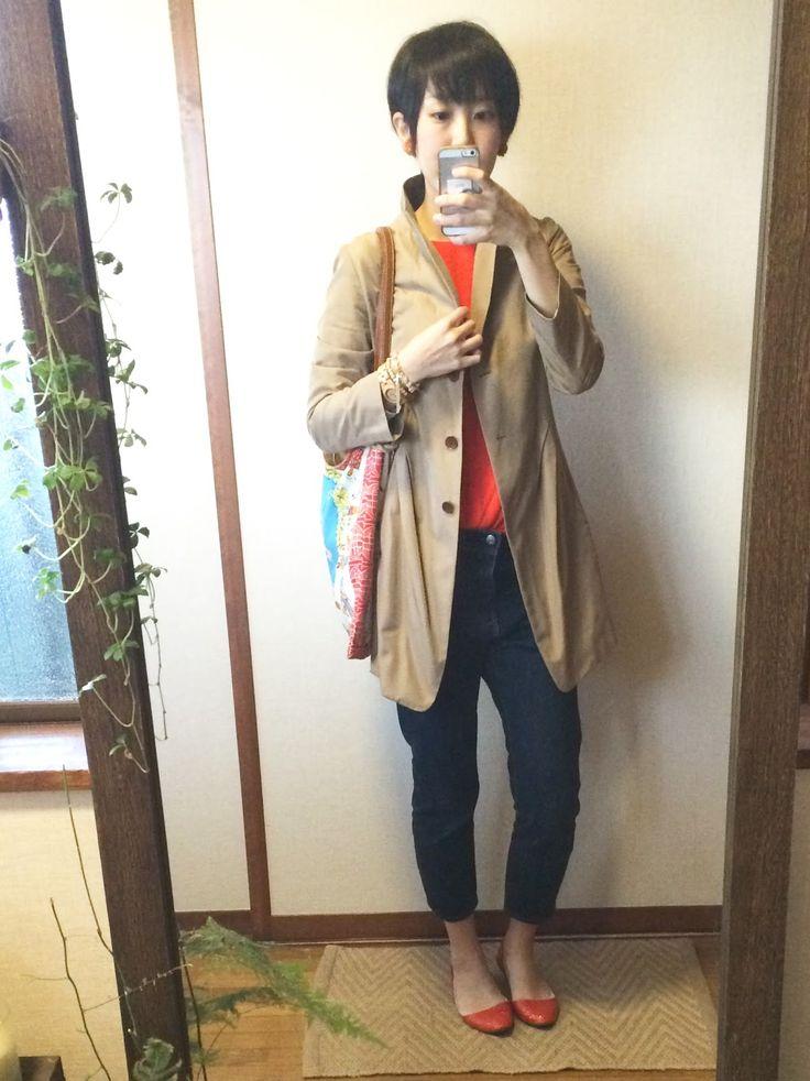 モコーデ: 4/27 ZARAオレンジトップスxメンズデニムの元気カラーコーデ