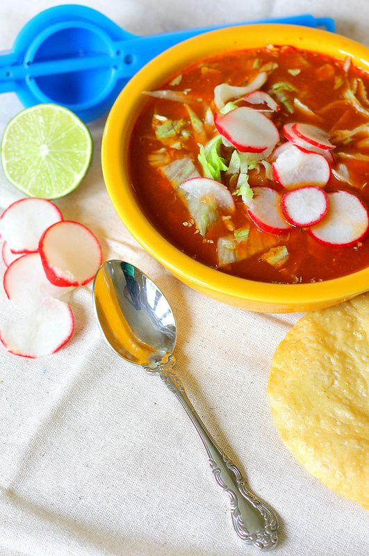 Recipe for Pozole Rojo (Pork and Hominy Soup) ~ by Flan & Apple Pie