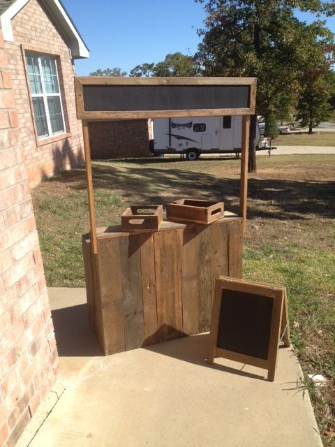Custom Lemonade Stand That We Built For Tin Star Furniture In Denison, TX.  Complete With 2 Drawers And A Standing Chalk Board.
