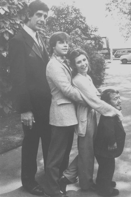 Peter Mayhew, Mark Hamill, Carrie Fisher and Kenny Baker