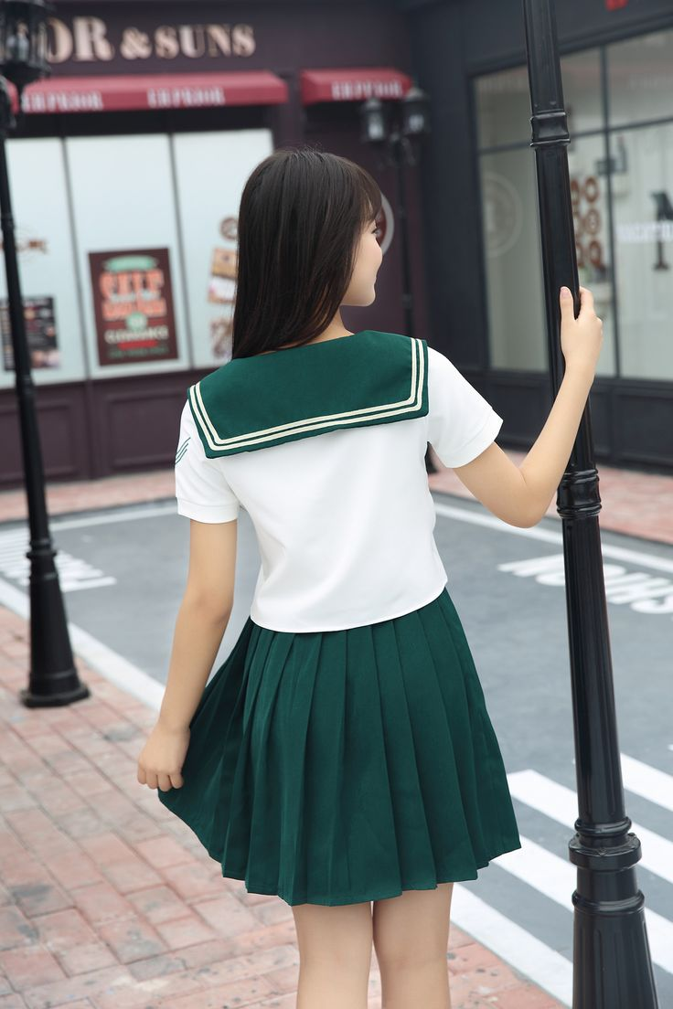 High Quality Girl Japanese Uniform Sailor School Uniform Set Plus Size XL White-Green Skirt Short Sleeve Shirt