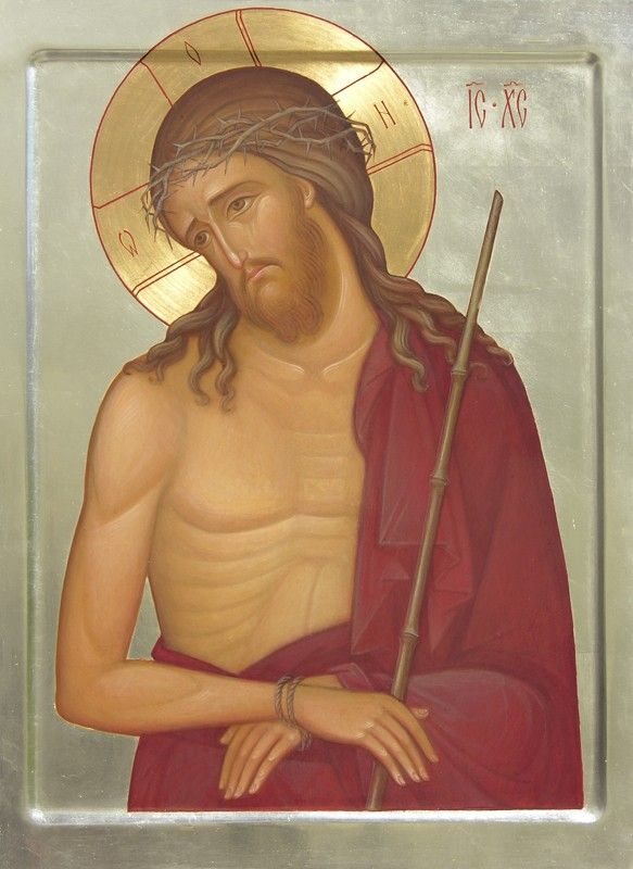 Jesus Wearing the Crown of Thorns - Hand-Painted Icon from the Workshop of St. Elisabeth Convent
