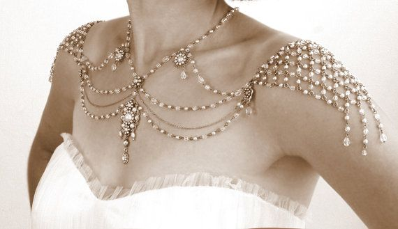 Collier pour les épaules, Style des années 1920, Great Gatsby, perles perlées, strass, Jazz Age, or, OOAK bijoux de mariage nuptiale, Efrat Davidsohn