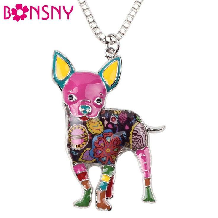 Chihuahua Dog Enamel Necklace