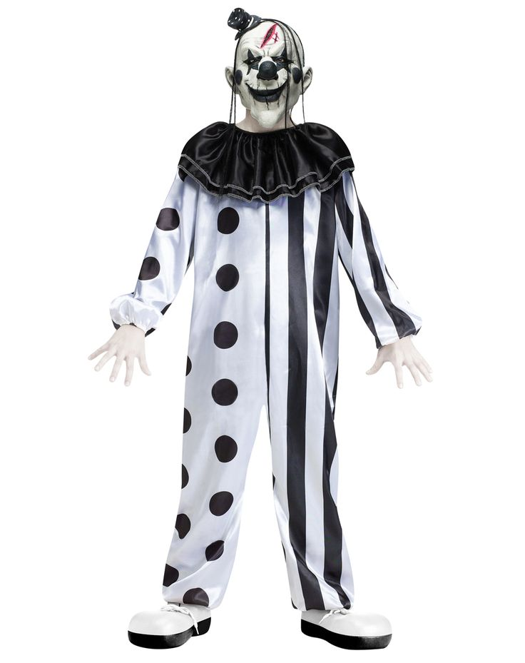 crazy killer clown child costume includes a jumpsuit collar and clown mask for a look that is sure to make em scream become a sideshow horror with this - Halloween Scary Costumes For Boys
