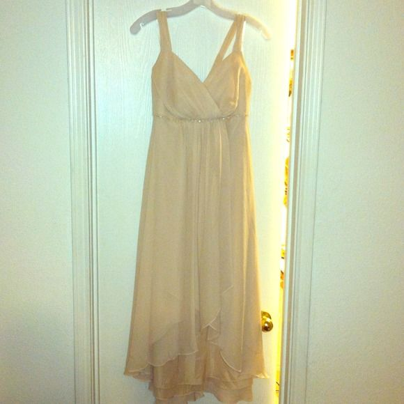 Beautiful David's Bridal Bridesmaid size 12 Beautiful David's Bridal Bridesmaid size 12, wore once for about an hour at a wedding, Hi/low Champagne taupe in color, never been washed. No stains or rips. Antonio Melani shoes in another listing that I wore with this. David's bridal Dresses