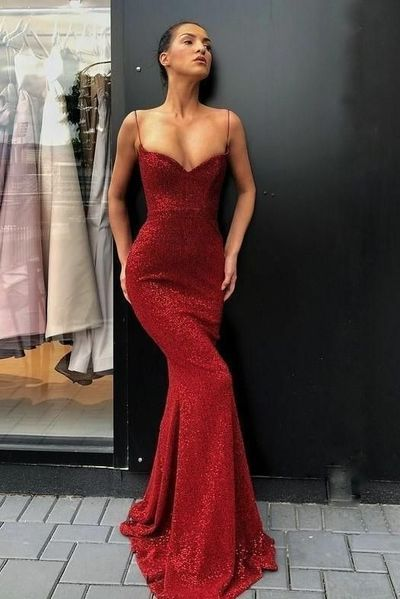 a966cdde5d9a Spaghetti Straps Sexy Red Sequin Prom Dress Mermaid | prom dresses ...