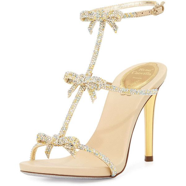 Rene Caovilla Bow Crystal T-Strap Sandal (2 238 AUD) ❤ liked on Polyvore