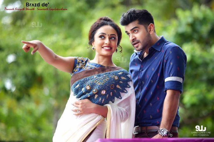 Pearly Maaney in a Brʌɪd de' Kerala Saree - Crochet on Chest ,Denim Blouse