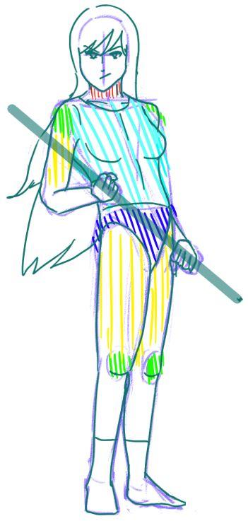 Ciao a tutti! Dopo aver imparato come comporre un corpo per una posa proviamo a disegnare la prima posa. E' una figura femminile in piedi con un bastone nelle mani. Iniziamo a disegnare l&#82…