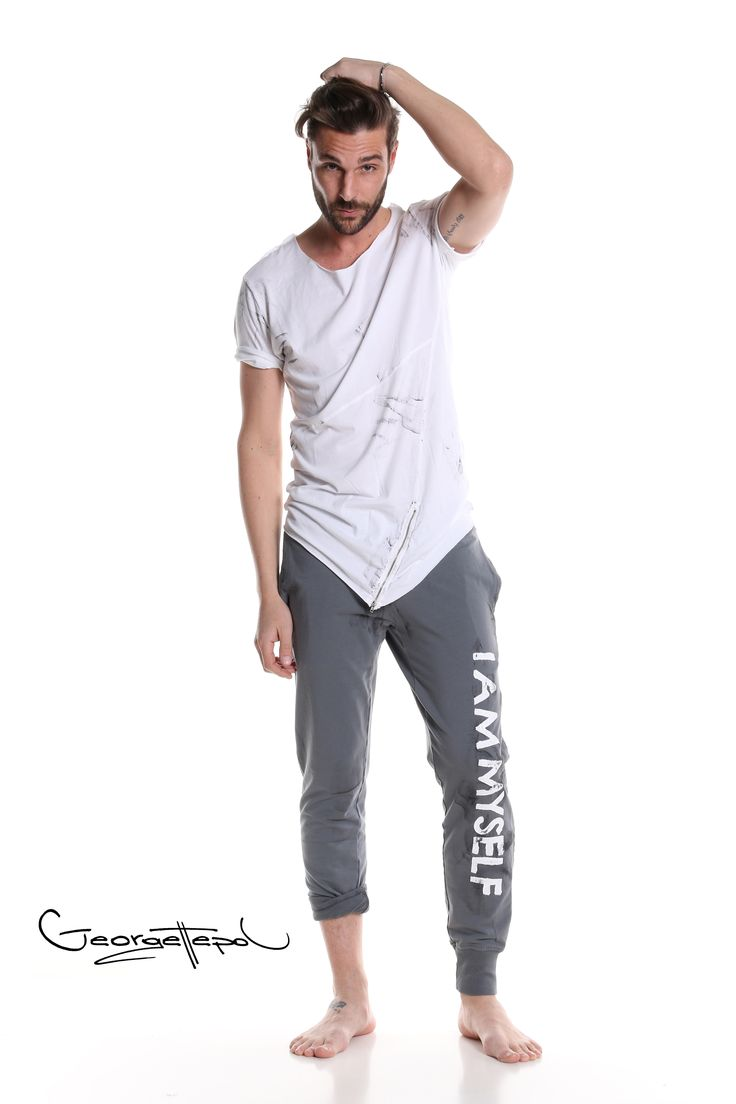 Long white t-shirt - Grey tracksuit bottoms #bottoms #tracksuit #fashion #man #painted #summer #grey #iammyself #tshirt #white #black #style #georgettepol