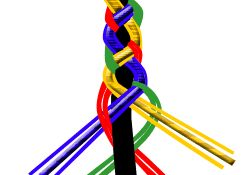 Blå tråd över grön och läderrem, gul under röd och över blå och läderrem