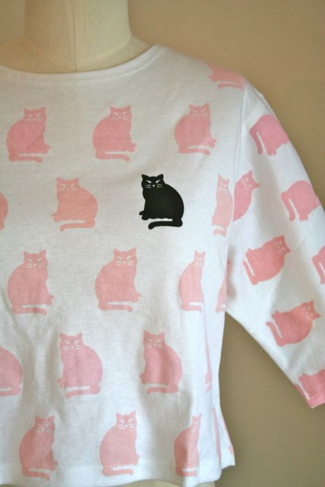 vintage cat tshirt  CAT LADY novelty print cropped shirt by MsTips, $28.00