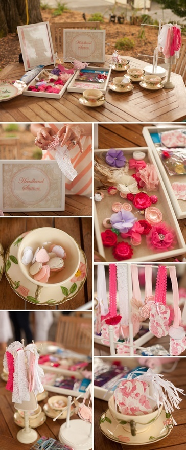 Baby shower headband station. Teacups to hold pieces and tags to write who it's made by