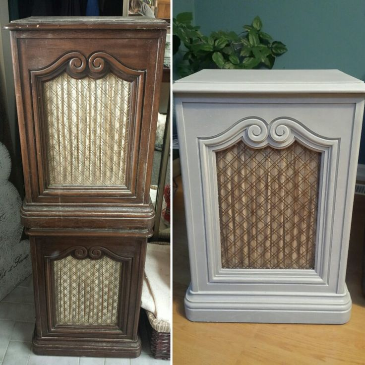 Cute retro speakers turned into end tables. Left the backs out and added pillows for pet beds.