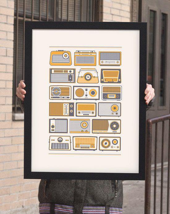 Retro Radios Vintage Poster von 55his auf Etsy
