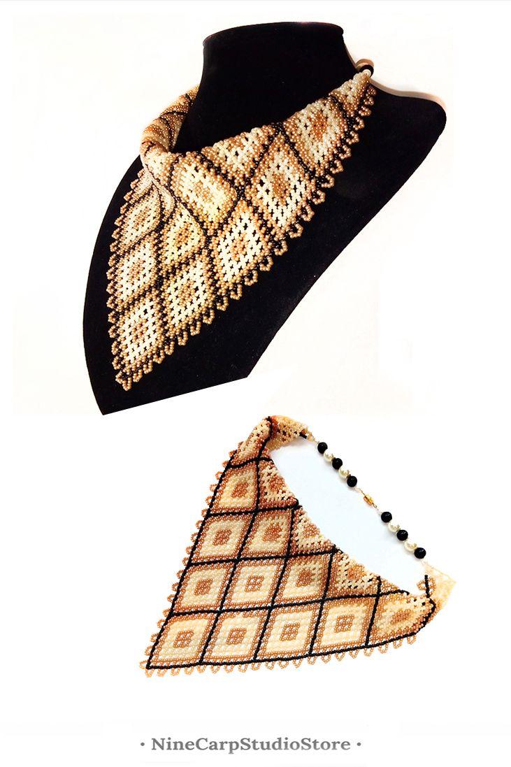 Handmade beaded neckerchief is original gift idea for woman.