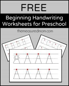 Free beginning handwriting worksheets for preschool! - The Measured Mom