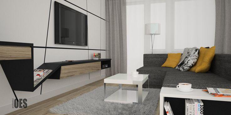 #zabudowaściany #ścianaztv nowoczesny sposób zabudowy ściany z tv, salon z tv, żółte dodatki we wnętrzu