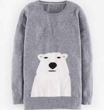 Ice bear thinks this sweater is awesome - Boden Animal Intarsia Sweater