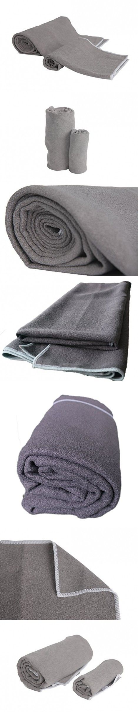 LUXEHOME Microfiber,Anti-Slip,Super Absorbent Hot Yoga Towel Kit, Include 1 Yoga Towel and 1 Hand Towel, Mat Size Length (Grey)