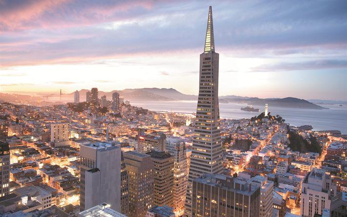 Download wallpapers San Francisco, skyline, Transamerica Pyramid, morning, skyscrapers, cityscape, USA