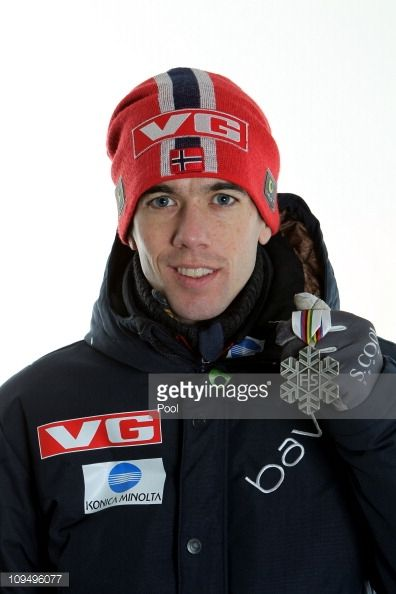 Anders Bardal of Norway poses with the the silver medal won in the Men's Ski Jumping Team HS106 competition during the FIS Nordic World Ski...