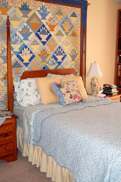 My Bedroom With My Blue Yellow Basket Quilt Hanging Behind