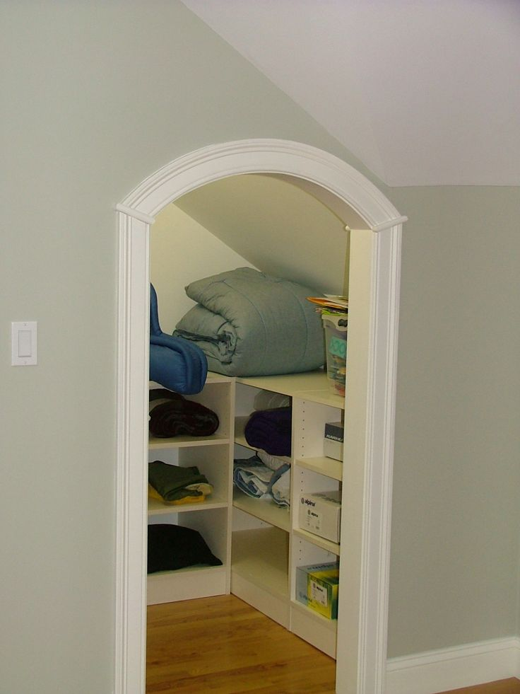 Small Attic Linen Closet With Sloped Ceiling This Was A