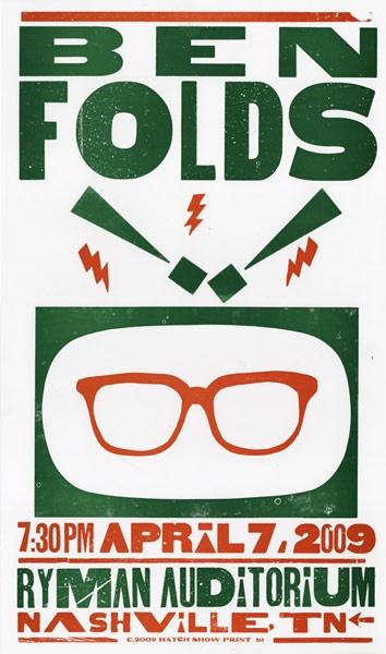 Ben Folds - gig poster - Brad Vetter #gig #poster #music #concert