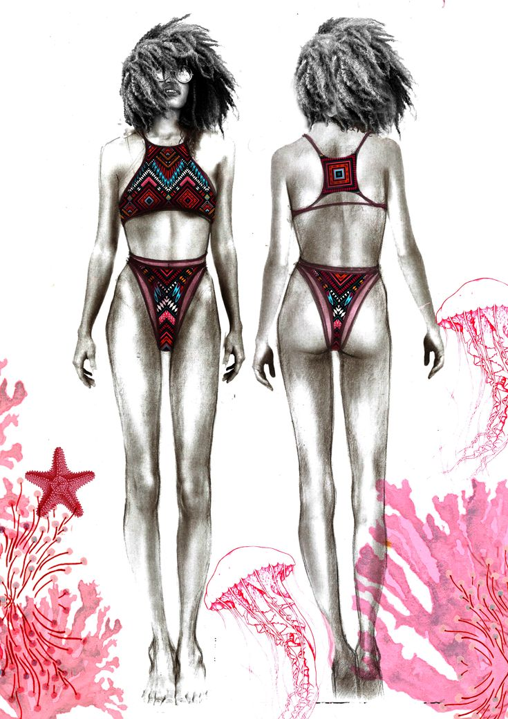 Fashion illustration designer: Sabina  Mihaela Dolhescu  Swimwear collection 2018