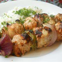 Tender barbecue chicken kebabs