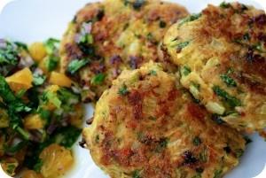Thai chicken meatballs with mango and coriander salsa, sounds yummy