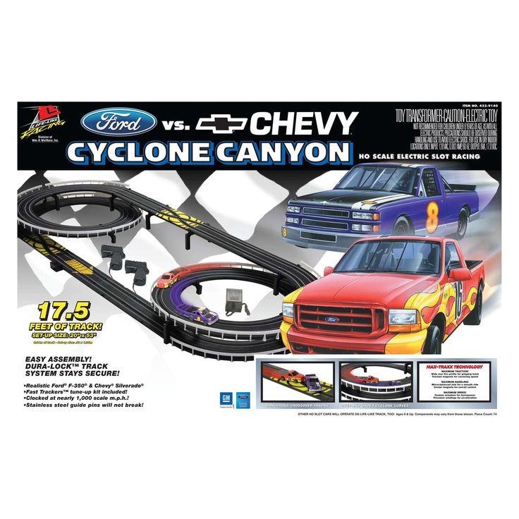 Ford vs Chevy Cyclone Canyon Slot Car Racing Set