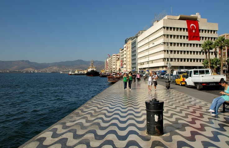 Kordon walkway-along the bay--Izmir, Turkey. Our apartment was the 5th building down. JP