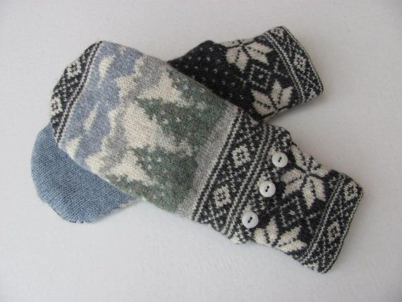 These magnificent mittens are made from a traditional Norwegian sweater.