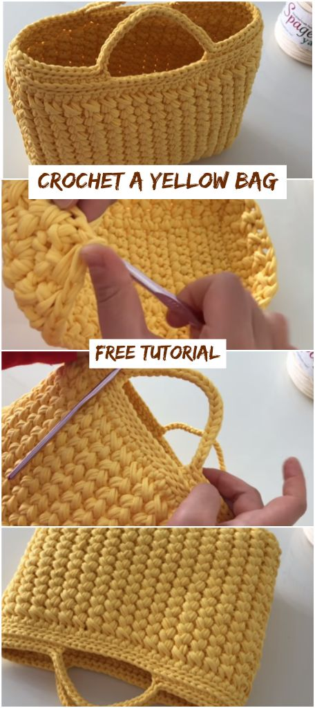Crochet A Yellow Bag Free Tutorial