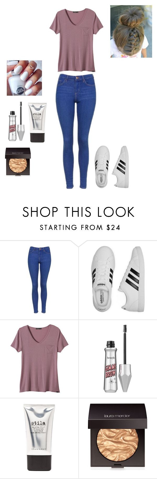 """""""How To Wear: Adidas Sneakers"""" by meredith-gomes on Polyvore featuring Topshop, adidas, prAna, Benefit, Stila and Laura Mercier"""