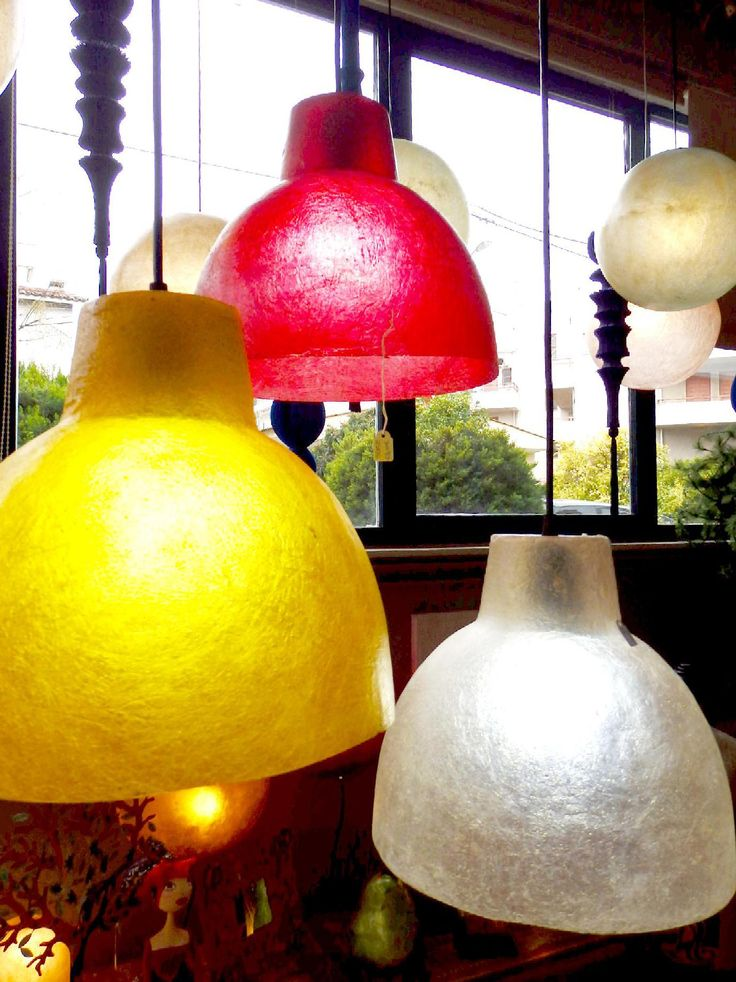 They come in three colors: Natural White, Dark yellow Gold and Wine Red.  They are perfect for the kitchen area, dining room, or the bar area!  Dimensions: 26cm (diameter of lamp opening) x 22cm (height of lamp)  They come complete with E27 bulb holders and you can use as much wattage as you need.